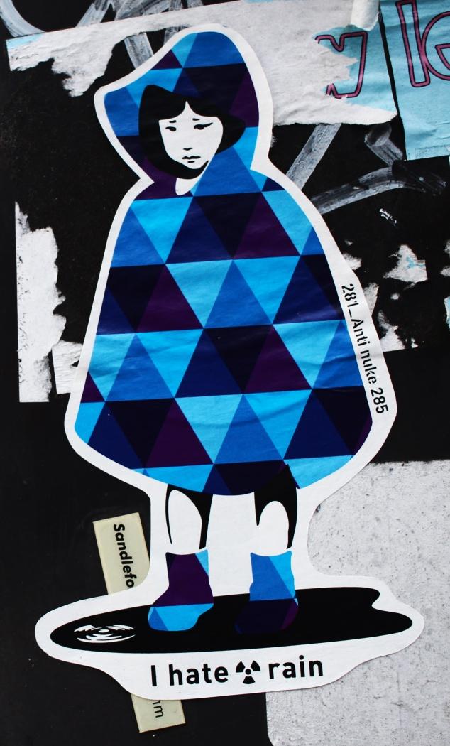 japan's stickers war post fukushima i hate rain