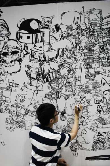 laurent Ibanez tokyo design festa live painting noir et blanc
